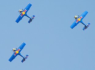 Red Bull aerobatic team in a formation