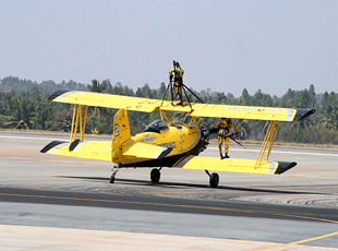 Boeing Stearman biplane of Catwalk Aerobatic Team ready for take-off